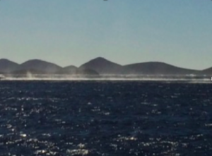 The line of spray in the channel through the Kornati Islands