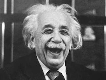 Illustrating what Einstein might like as he is laughing