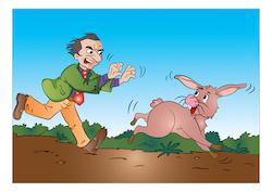 Man Running After a Rabbit, illustration