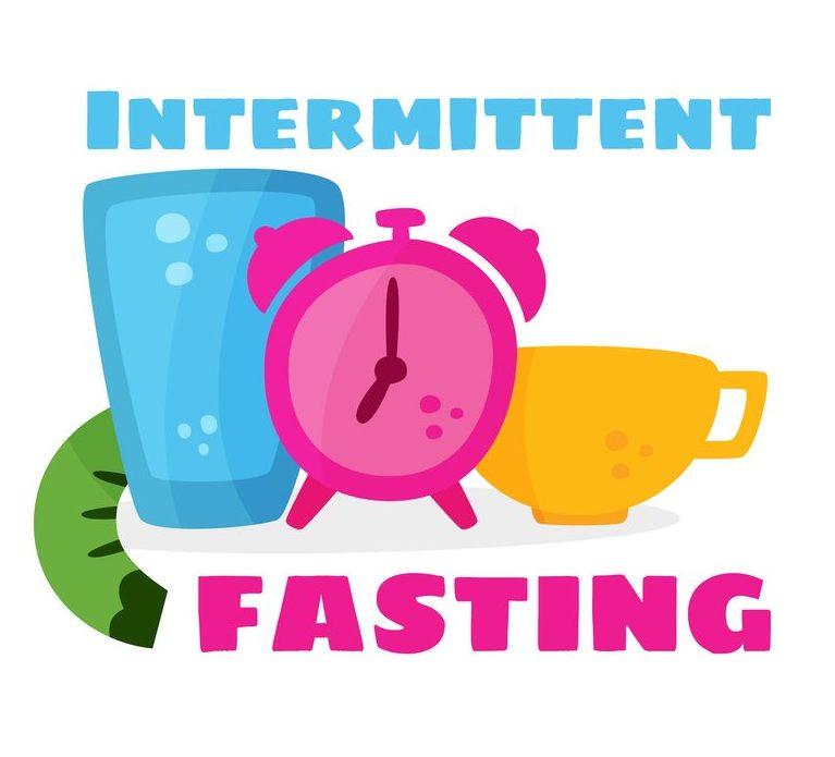 Vector of intermittent fasting, mug, alarm clock