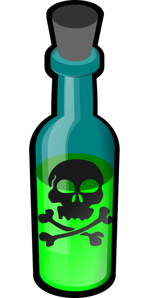 A bottle of poison, showing how phytochemicals kill bugs and illustrating that they could kill humans too