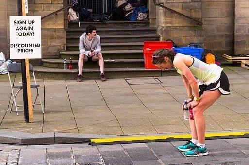 exhausted marathon runner