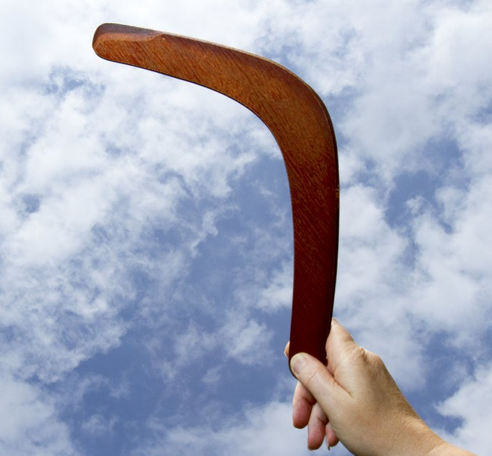 Showing how an idea can return to you even when it seems impossible, like a boomerang