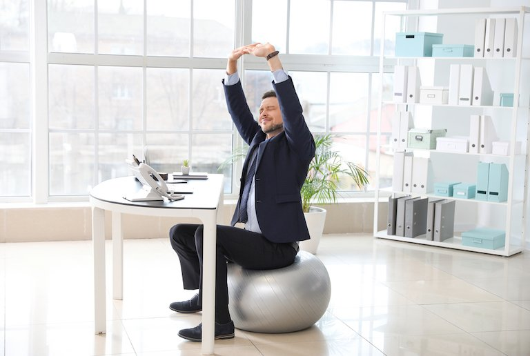 A Swiss ball is a way of exercising whilst working on a computer