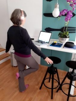 author example of exercising by standing on left leg during zoom call